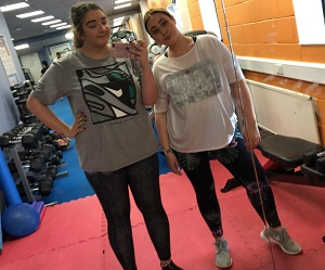jess and courtney in the gym ahead of their walk