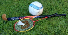 Sports equipment (ball, badminton racket and hockey stick)